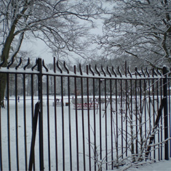 snowy railings